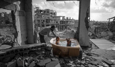 Children Taking a Bath in Destructed Infrastructures